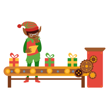 vector flat christmas elf boy standing near conveyor with holiday present toys checking with listing paper. Fairy holiday character in fancy costume, hat, santa assistant. Isolated illustration