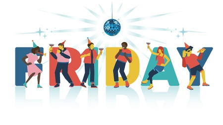 Vector illustration of friday party invitation or banner with big word and young cheerful people with cocktails and food dancing, having fun and singing karaoke under disco ball isolated on white.