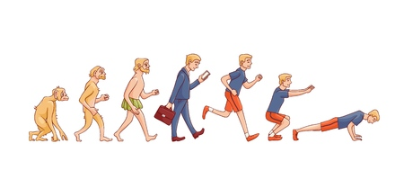 Vector illustration of human evolution from ape to man - hand drawn isolated evolutionary process of change and development from monkey via businessman in suit to sportsman doing exercises.  イラスト・ベクター素材