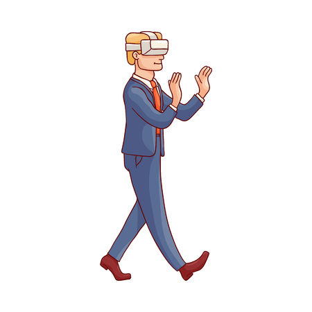 Vector sketch businessman in suit walking with vitrual reality headset. Modern digital technologies used in corporate work to improve user experience.