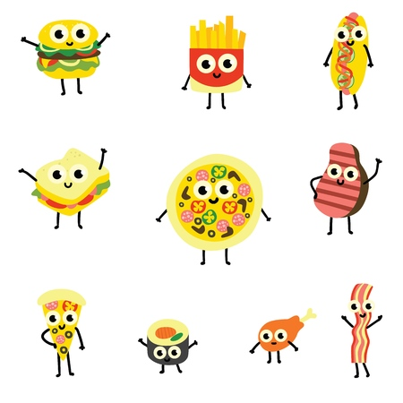Vector illustration set of food cartoon characters in flat style - cute emoticons of various delicious meals with funny smiling faces isolated on white background. Collection of cooked food mascots.