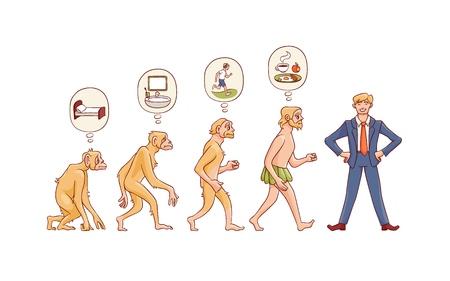 Concepto de evolución de personas de vector con el proceso de crecimiento de mono a hombre con mono, hombre de las cavernas con necesidades primarias para feliz empresario en traje. Desarrollo de la humanidad, teoría de darwin