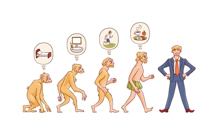 Vector people evolution concept with ape to man growth process with monkey, caveman with primary needs to happy businessman in suit. Mankind development, darwin theory
