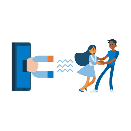 Vector customer retention customer relations managment concept with hand with huge magnet from smartphone screen trying to attract woman client dress with terrified face holding hand of african man.