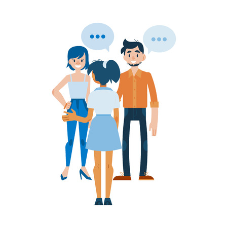 Vector young women and man in casual clothing talking to each other gesticulating with empty speech bubble above head. Friends or colleagues and social communication. Flat illustration