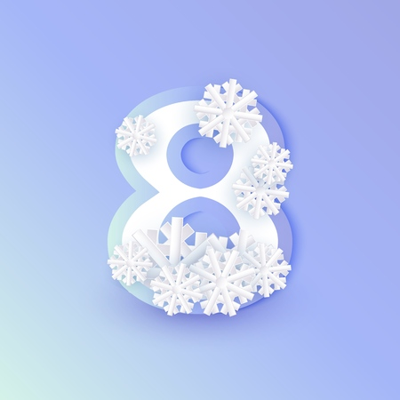 Vector winter eight number 8 with snowflakes and ice on blue background. Seasonal typography symbol with north frost snowflakes, christmas, new year holiday symbol for seasonal decoration design Foto de archivo - 113744654