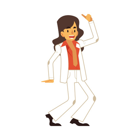 Vector illustration of man dancing disco in flat cartoon style. Happy smiling male character wearing cloth and hair in 70s fashion style doing dance moves isolated on white background.