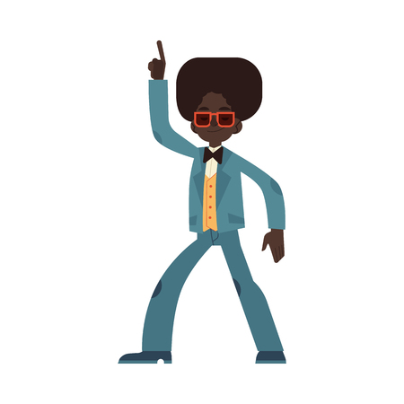 Vector illustration of african man dancing disco in flat cartoon style - male character wearing cloth and hair in 70s fashion style doing dance moves and having fun isolated on white background.