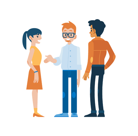 Vector illustration of conversing people in flat style - cartoon characters of men and woman standing and discussing something isolated on white background. Business communication concept.