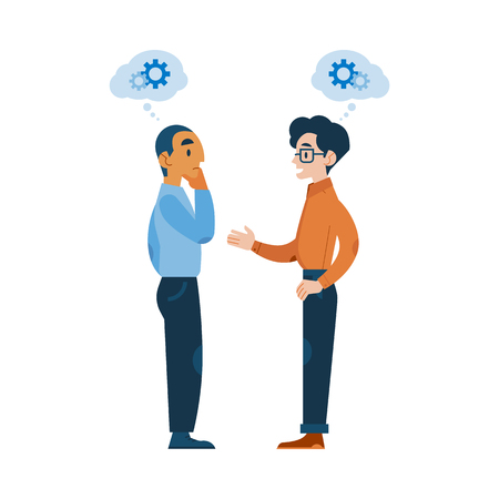 Vector adult men in casual clothing talking to each other gesticulating with gear icon above head as mental process indicator. Colleagues communicating, discussing design. Flat illustration