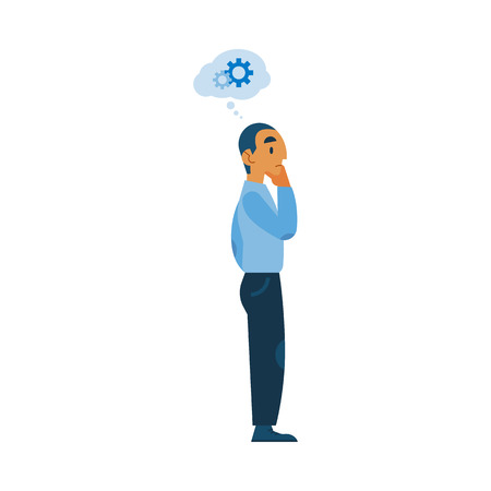 Vector adult man in casual clothing talking to colleague gesticulating with gear icon above head as mental process indicator. Worker communicating, discussing design. Flat illustration