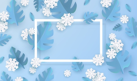 Vector illustration of blue winter natural banner - blue plant leaves and white snowflakes in paper art style around rectangle frame with empty space for text for seasonal design.