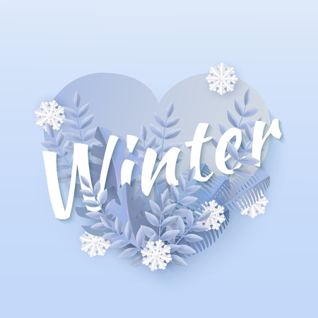 Vector winter sale poster background template with abstract fresh blue leaves and snowflakes in heart shape frame. New year, christmas holidays wallpaper, layout with seasonal florals and icy snow. Banque d'images - 126844717
