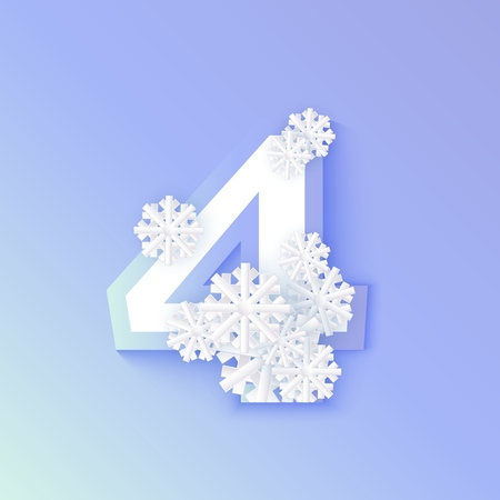 Vector winter four number 4 with snowflakes and ice on blue background. Seasonal typography symbol with north frost snowflakes, christmas, new year holiday symbol for seasonal decoration design