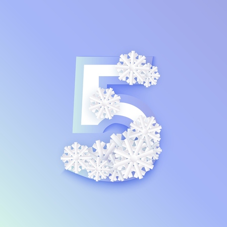 Vector winter five number 5 with snowflakes and ice on blue background. Seasonal typography symbol with north frost snowflakes, christmas, new year holiday symbol for seasonal decoration design