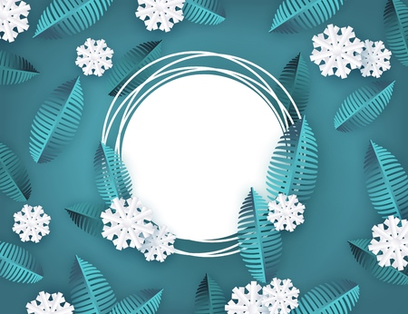Vector winter background template with abstract fresh green leaves and snowflakes with grunge circle frame text space. New year, christmas holidays wallpaper, layout with seasonal florals and icy snow
