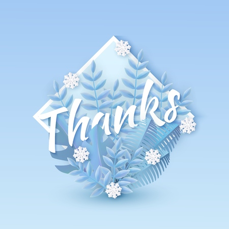 Vector illustration of Thanks text winter natural design with white word surrounded by blue tree leaves and falling snowflakes in rhombus shape in paper art style - seasonal gratitude layout.