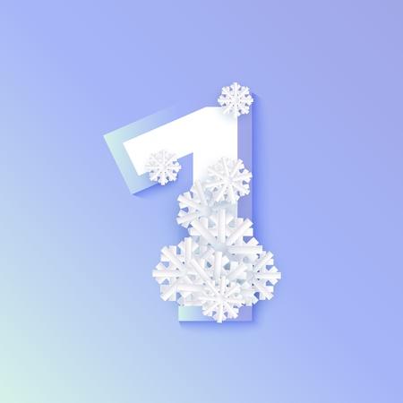 Vector invierno uno número 1 con copos de nieve y hielo sobre fondo azul. Símbolo de tipografía estacional con copos de nieve de la escarcha del norte, navidad, símbolo de vacaciones de año nuevo para el diseño de decoración de temporada Ilustración de vector