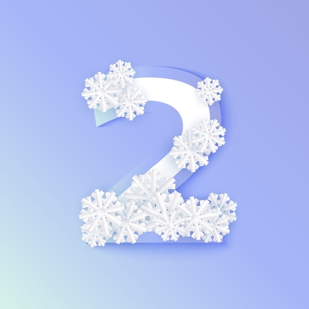 Vector winter two number 2 with snowflakes and ice on blue background. Seasonal typography symbol with north frost snowflakes, christmas, new year holiday symbol for seasonal decoration design