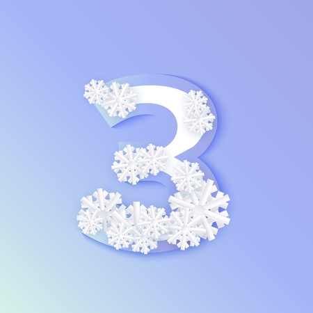 Vector winter three number 3 with snowflakes and ice on blue background. Seasonal typography symbol with north frost snowflakes, christmas, new year holiday symbol for seasonal decoration design Foto de archivo - 113726720