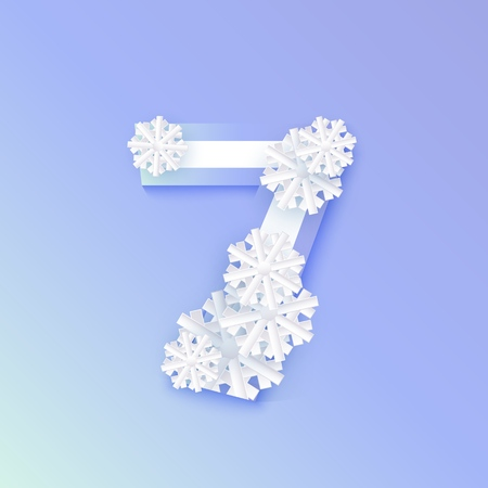 Vector winter seven number 7 with snowflakes and ice on blue background. Seasonal typography symbol with north frost snowflakes, christmas, new year holiday symbol for seasonal decoration design