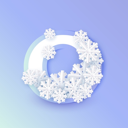 Vector winter nine number 9 with snowflakes and ice on blue background. Seasonal typography symbol with north frost snowflakes, christmas, new year holiday symbol for seasonal decoration design