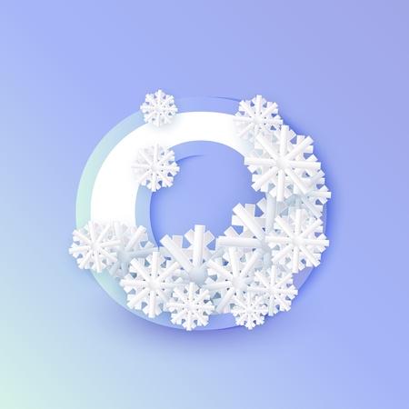 Vector invierno nueve número 9 con copos de nieve y hielo sobre fondo azul. Símbolo de tipografía estacional con copos de nieve de la escarcha del norte, navidad, símbolo de vacaciones de año nuevo para el diseño de decoración de temporada Ilustración de vector