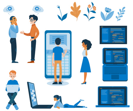Vector illustration set of flexible application development concept in flat style - isolated it specialists working on software on different devices and various screens with programming code.