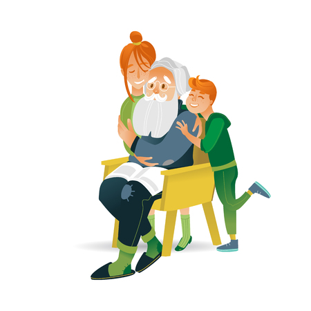 Vector illustration of happy family concept - little smiling boy and girl hugging their grandfather with love and tenderness in cartoon style isolated on white background.