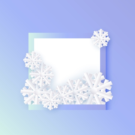 Vector illustration of winter banner with white blank square shape with snowflakes in paper art style isolated on blue gradient background - seasonal and holiday layout with copy space. Illustration