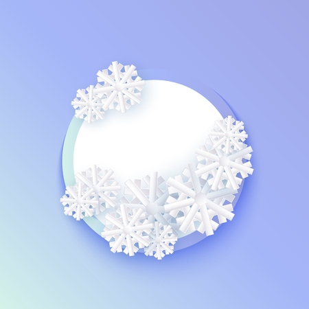 Vector winter background template with abstract snowflakes with circle frame text space. New year, christmas holidays wallpaper, layout with seasonal florals and icy snow. Vettoriali