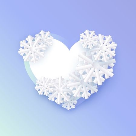 Vector winter background template with abstract snowflakes with heart shape frame text space. New year, christmas holidays wallpaper, layout with seasonal florals and icy snow. Banque d'images - 126844744