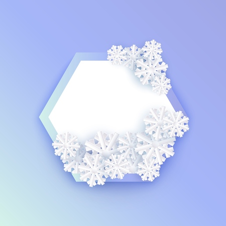 Vector winter background template with abstract snowflakes with hexagonal frame text space. New year, christmas holidays wallpaper, layout with seasonal florals and icy snow.