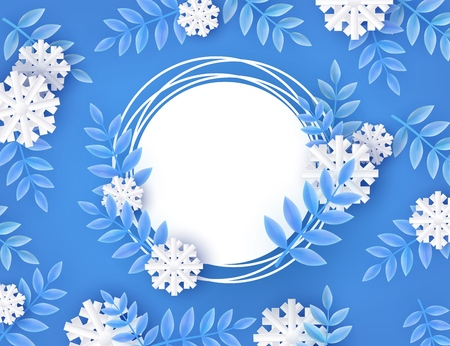 Winter natural banner vector illustration with blank white grunge round shape with copy space surrounded by tree leaves and snowflakes in paper art on blue background.