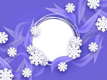Winter natural banner vector illustration with blank grunge round shape on background with blue tree leaves and white snowflakes in paper art - seasonal layout with empty space for text. Illustration