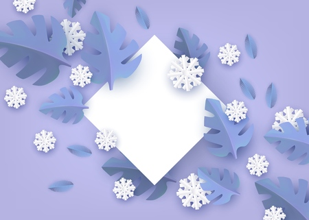 Vector illustration of winter natural banner with copy space - blank white rhombus shape surrounded by blue paper plant leaves and snowflakes. Flat layout for seasonal design.