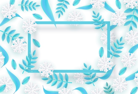 Vector winter background template with abstract fresh green leaves and snowflakes with rectangle frame. New year, christmas holidays wallpaper, layout with seasonal florals and icy snow.
