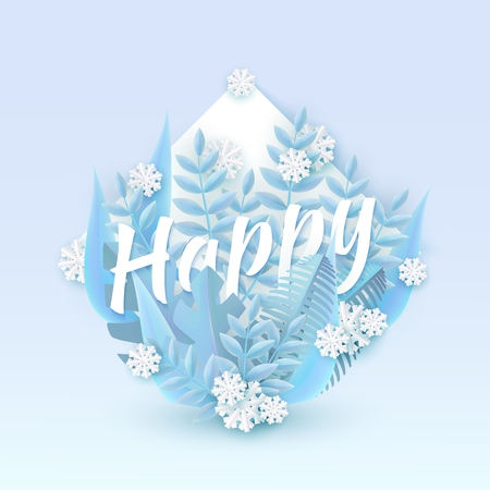Vector illustration of Happy text winter natural design with blue tree leaves and falling snowflakes around white word in shape of drop form in paper art style - seasonal and holiday layout. Illustration