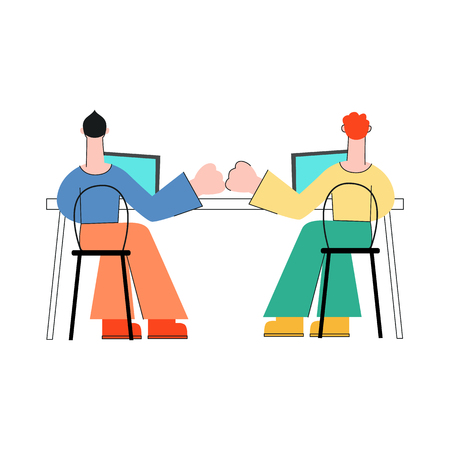 Coworking communication vector illustration with two men sitting with back working with laptops and bumping fists in flat style isolated on white background - male characters in convenient workplace.