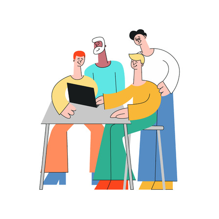 Coworking communication vector illustration with team of people working together with laptop and discussing process in flat style isolated on white background - teamwork and brainstorming concept.