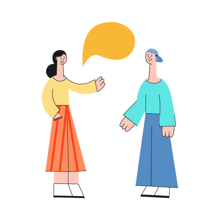 Vector young woman and man in casual clothing talking to each other gesticulating with empty speech bubble above head. Friends or colleagues and social communication. Flat illustration