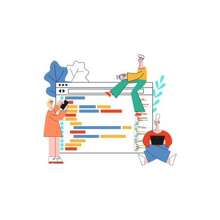 Vector illustration of application development concept in flat style - isolated characters of it specialists working on software in front of large computer screens with programming code.