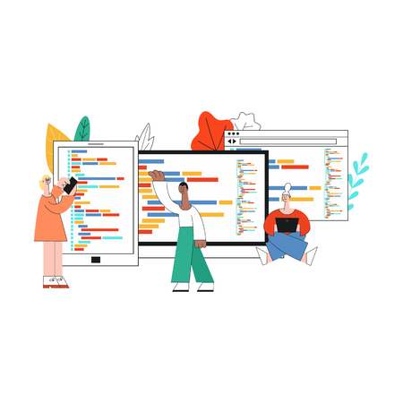 Vector illustration of flexible application development concept in flat style. Isolated characters of it specialists working on software in front of large computer screens with programming code.