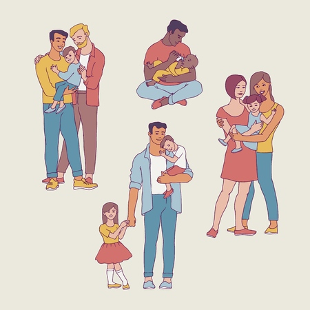 Gay family vector illustration set with happy men and women with their kids in sketch style. Isolated hand drawn smiling homosexual people embracing their children with love. Çizim