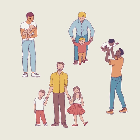 Vector illustration set of fathers with their children isolated on white background in sketch style - hand drawn young dad holding and playing with his kids for happy family concept.