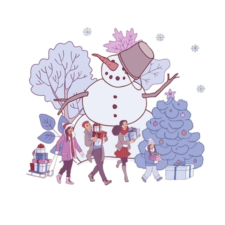 Vector illustration of Christmas and New Year banner with hand drawn people with gift boxes near big snowman and decorated snowy trees isolated on white background for winter greeting or promotion.