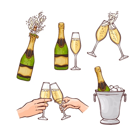 Vector champagne bottle splashing with popping cork, hands toasting glasses, bottle in ice bucket set. New year, christmas holiday celebration objects collection , cartoon illustration