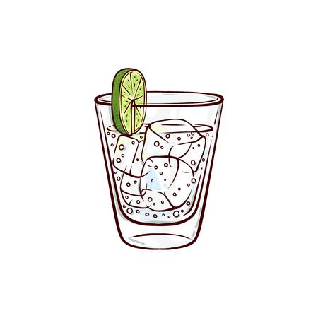 Vaso de gin tonic de dibujo vectorial con rodaja de limón y cubitos de hielo. Bebida alcohólica dibujada a mano, cóctel de bebidas para bares, restaurantes de pub o diseño de fiestas. Icono de trago de tequila o vodka Ilustración de vector
