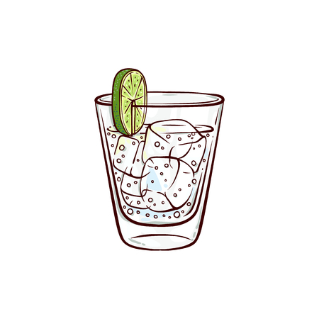 Vector sketch gin tonic glass with lime slice and ice cubes. Hand drawn alcohol drink, beverage cocktail for bar, pub restaurans or party design. Tequila or vodka shot icon
