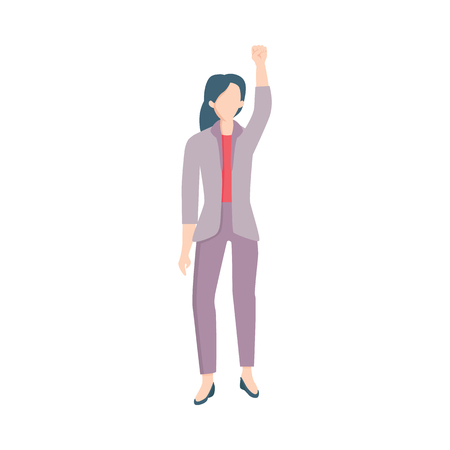 Vector young business woman manager in corporate suit standing raising fist up as sign of feminism, female rights and rebellion. Office girl against discrimination. Isolated illustration
